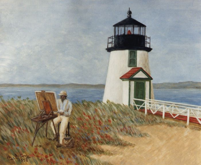 Peintre devant le phare de Nantucket